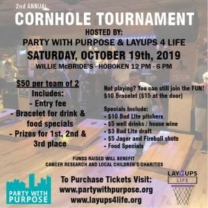 cornhole, charity, Hoboken, tournament, sports, drinks, football, college football. fundraiser, fundraise, Layups 4 Life, Party with Purpose